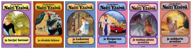 Neiti Etsivä -- Nancy Drew books with their Finnish covers.